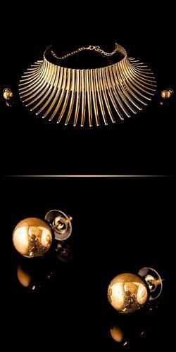 Set tŕňový náhrdelník a náušnice | Zlatá
