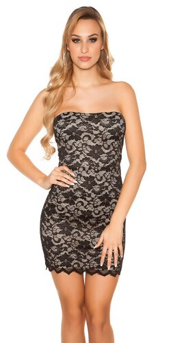 Čipkované mini šaty Čierna