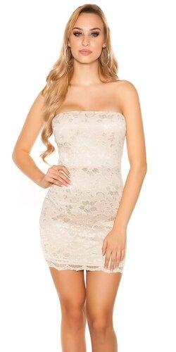 Čipkované mini šaty | Béžová