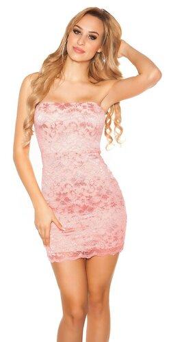 Čipkované mini šaty | Koralová