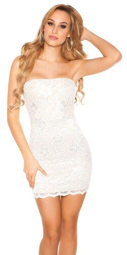Čipkované mini šaty | Biela