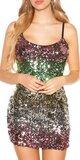 Flitrované sexi mini šaty na ramienka Zelená