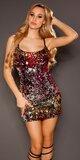 Flitrované sexi mini šaty na ramienka Červená