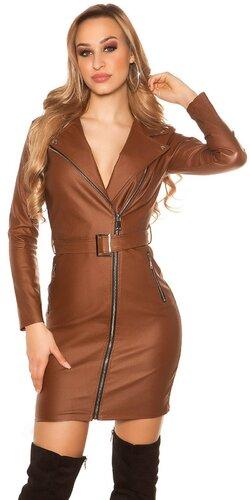 Kožené mini šaty s opaskom | Hnedá