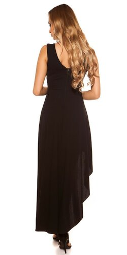 Spoločenské šaty s úzkym pásom Čierna