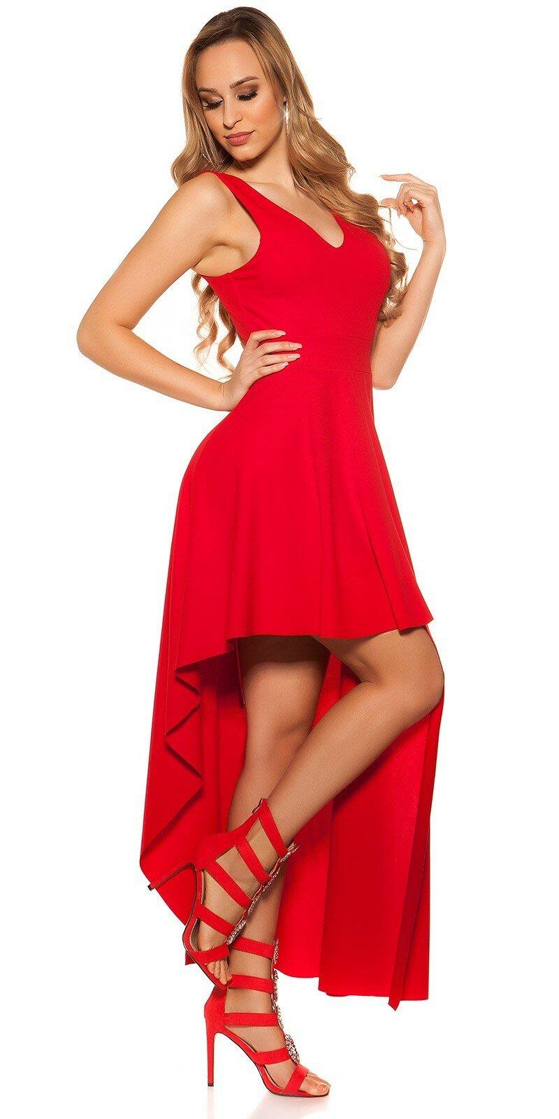 Spoločenské šaty s úzkym pásom  Veľkosť Univerzálna (XS S M) Farba Červená e1139d2aa69