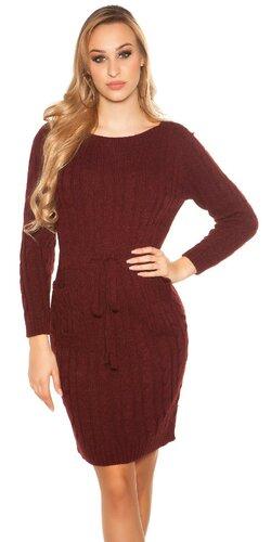 Hrubé pletené šaty s vreckami | Bordová