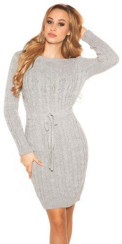 Hrubé pletené šaty s vreckami | Šedá