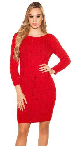Hrubé pletené šaty s vreckami | Červená