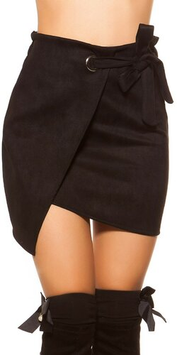 Semišová mini sukňa | Čierna