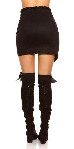 Semišová mini sukňa Čierna