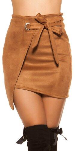 Semišová mini sukňa | Hnedá