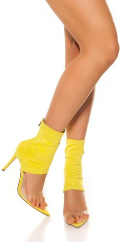 Členkové topánky na vysokom podpätku | Žltá