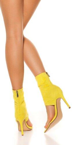 Členkové topánky na vysokom podpätku Žltá