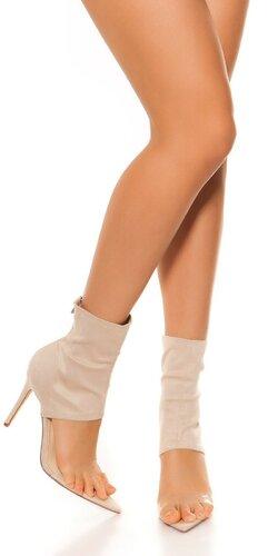Členkové topánky na vysokom podpätku | Béžová