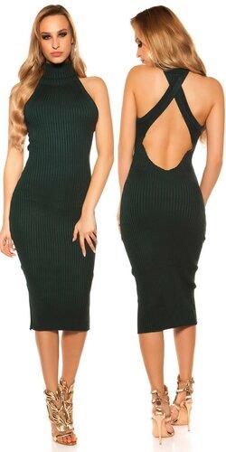 Rolákové pletené midi šaty | Zelená