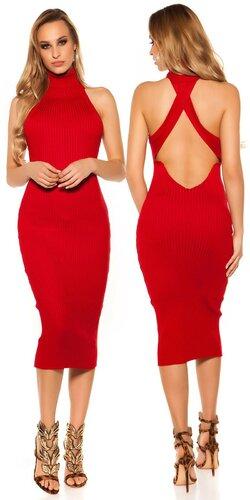 Rolákové pletené midi šaty | Červená