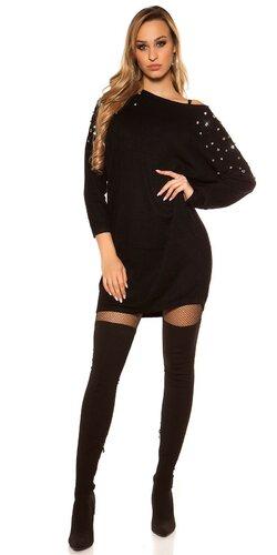 Šaty s kamienkovými rukávmi Čierna