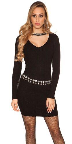 Vrúbkované pletené šaty s V výstrihom | Čierna