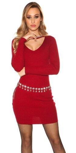 Vrúbkované pletené šaty s V výstrihom | Bordová