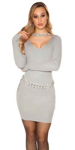Vrúbkované pletené šaty s V výstrihom | Šedá bledá