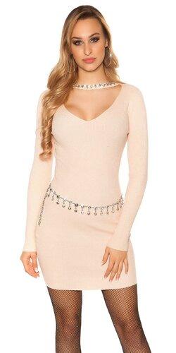Vrúbkované pletené šaty s V výstrihom | Bledá ružová
