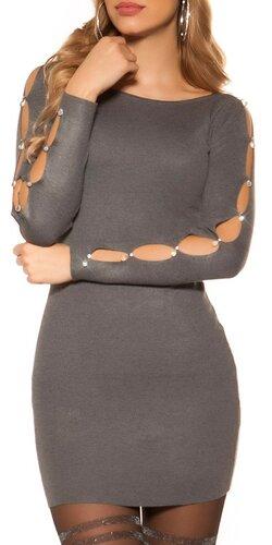 Šaty s dierami v rukávoch | Šedá tmavá