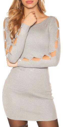 Šaty s dierami v rukávoch | Šedá bledá