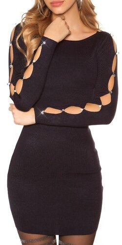 Šaty s dierami v rukávoch | Tmavomodrá