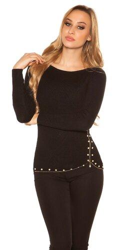 Sveter s dekoratívnymi perličkami | Čierna