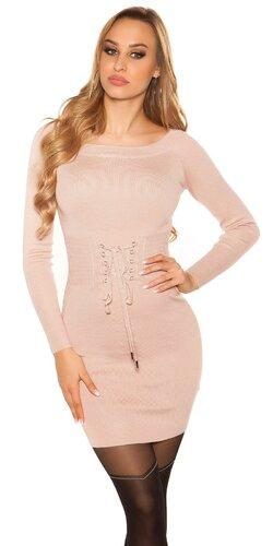 Pletené šaty so šnurovacím pásom | Bledá ružová