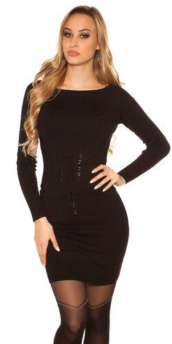 Pletené šaty so šnurovacím pásom | Čierna