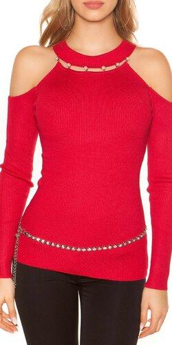 Vrúbkovaný svetrík s perličkami Červená
