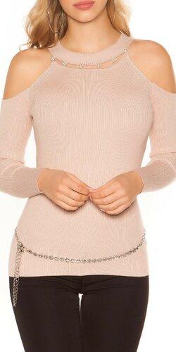 Vrúbkovaný svetrík s perličkami | Bledá ružová
