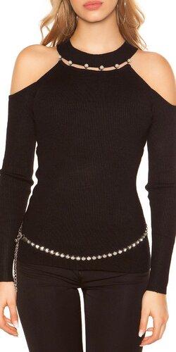 Vrúbkovaný svetrík s perličkami | Čierna