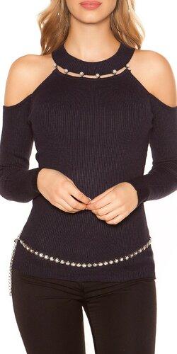 Vrúbkovaný svetrík s perličkami | Tmavomodrá