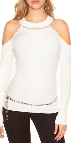 Vrúbkovaný svetrík s perličkami | Biela