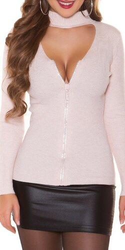 Vrúbkovaný sveter s kamienkovým zipsom Bledá ružová