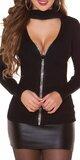Vrúbkovaný sveter s kamienkovým zipsom Čierna