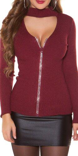 Vrúbkovaný sveter s kamienkovým zipsom | Bordová