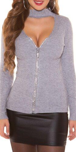 Vrúbkovaný sveter s kamienkovým zipsom | Šedá