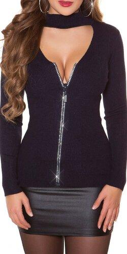 Vrúbkovaný sveter s kamienkovým zipsom | Tmavomodrá