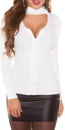 Vrúbkovaný sveter s kamienkovým zipsom | Biela