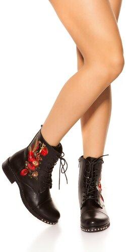 Kožené členkové topánky so šnurovaním | Čierna