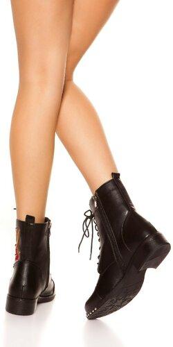 Kožené členkové topánky so šnurovaním Čierna
