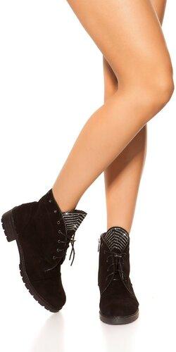 Semišové členkové topánky | Čierna