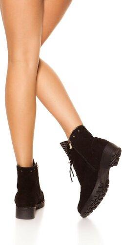 Semišové členkové topánky Čierna