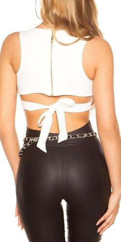 Krátky dámsky top s viazaným okolo pásu | Krémová