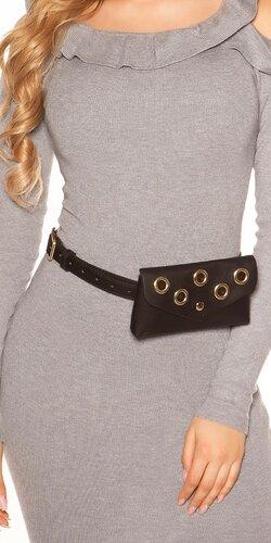 Opasková kabelka s očkami | Čierna