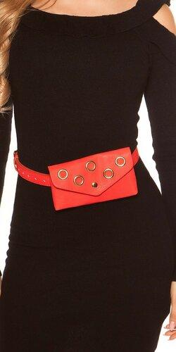 Opasková kabelka s očkami | Červená